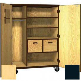 "Mobile Wood Teacher Cabinet, 2 Shelves, 2 File Drawers, 48""W x 22-1/4""D x 66""H, Maple/Black"