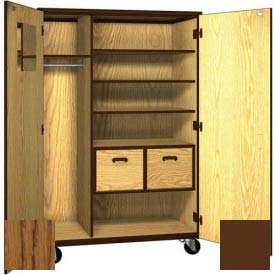 "Mobile Wood Teacher Cabinet, 3 Shelves, 2 File Drawers, 48""W x 22-1/4""D x 72""H, Dixie Oak/Brown"