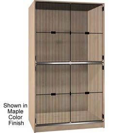 Ironwood 2 Compartment Black Grill Door Wood Storage Cabinet, Maple Color