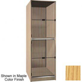 "Ironwood 2 Compartment Black Grill Door 40"" D Storage Locker, Natural Oak Color"