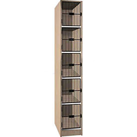 Ironwood 5 Compartment Black Grill Door Storage Locker, Natural Oak Color