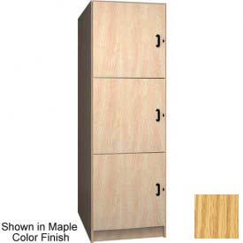 "Ironwood 3 Compartment Solid Door Storage 40"" D Locker, Natural Oak Color"