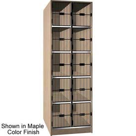 Ironwood 10 Compartment Black Grill Door Storage Locker, Maple Color