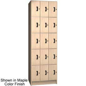 "Ironwood 15 Compartment Solid Door Storage 20"" D Locker, Maple Color"