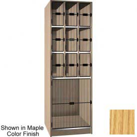 "Ironwood 9 Upper, 1 Lower Compartment Black Grill Door 30""D Locker, Natural Oak"