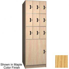 "Ironwood 9 Upper, 1 Lower Compartment Solid Door 30""D Locker, Natural Oak"