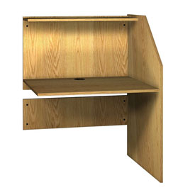 "Study Carrel Adder - 36-5/8""W x 30""D x 47-7/8""H Natural Oak"