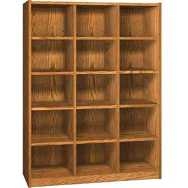 Wood Cubicle Cabinet, 15 Openings, Open Front, 52 x 17-5/8 x 68-3/8, Oiled Cherry