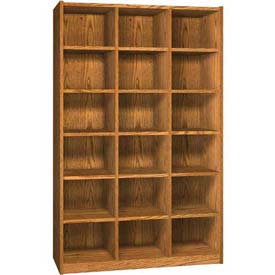 Wood Cubicle Cabinet, 18 Openings, Open Front, 52 x 17-5/8 x 81-1/2, Oiled Cherry