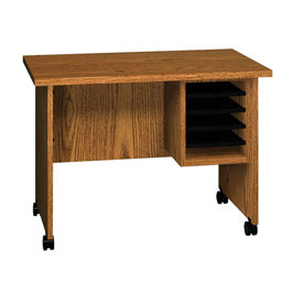 "Ironwood Small Computer Stand, 36""W x 22""D x 26""H, Medium Oak"