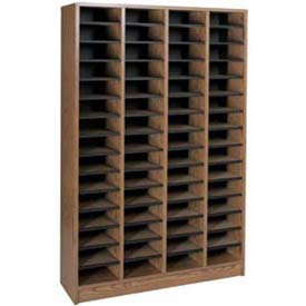 "Literature Organizer 60 Pocket - 40""W x 12-1/8""D x 60-1/2""H Medium Oak"