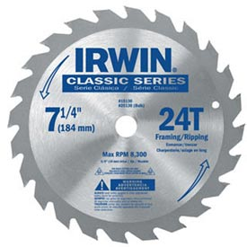 "Irwin® Classic-8-8-1/4"" X 24t X Universal Arbor Circular Saw Blade For Wood - Pkg Qty 5"