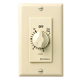 Intermatic FD12HC 12 Hour 125-277V SPST Decorator Series Spring Wound Timer, Ivory