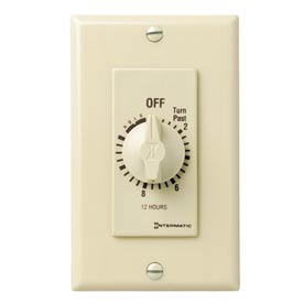 Intermatic FD12HH 12 Hour 125-277V SPST Decorator Series Timer w/Hold For Continuous Duty, Ivory