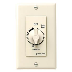 Intermatic FD15MH 15 Minute 125-277V SPST Decorator Series Timer w/Hold For Continuous Duty, Ivory