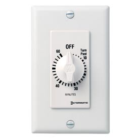 Intermatic FD60MWC 60 Minute 125-277V SPST Decorator Series Spring Wound Timer, White