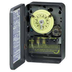 Intermatic T174 NEMA1-24 Hour Dial Time Switch W/Skipper And Optional Carryover, 208-277V, DPST