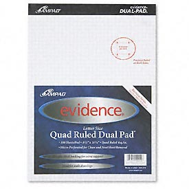 Evidence Quad Dual-Pad, Micro-Perf, 8-1/2 x 11-3/4, 100 Sheets/Pad, 2 Pads/Pack