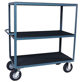 "Vinyl Matted Three Shelf Cart w/ 8"" Pneumatic Casters - 24 x 48"
