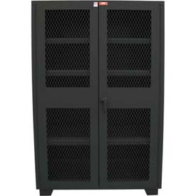 "Global™ Heavy Duty Cabinet Clearview Doors Four Shelves, Welded 36""W x 18""D x 78""H Gray"