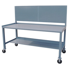 Mobile Steel Workbench w/ Pegboard - 36 x 72