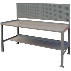 12 Gauge Steel Square Edge Workbench w/ Pegboard - 36 x 72