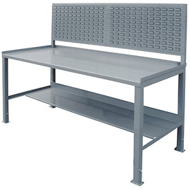 12 Gauge Steel Square Edge Workbench w/ Louvered Panel - 30 x 60