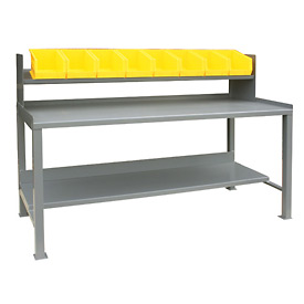 12 Gauge Steel Square Edge Workbench w/ Sloped Riser and Bins - 30 x 72