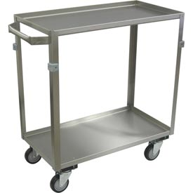 "Jamco Stainless Steel Cart ZE124 2 Shelf 24x16 4"" Casters Stainless Rigs"