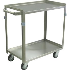 """Jamco Stainless Steel Cart ZF124 2 Shelf 24x16 4"""" Casters Steel Rigs"""