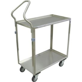 "Jamco Stainless Steel Cart ZG130 2 Shelf Ergo Handle 30x16 4"" Casters Stainless Rigs"