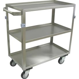 "Jamco Stainless Steel Cart ZH130 3 Shelf All Lips Up 30x16 4"" Casters Stainless Rigs"