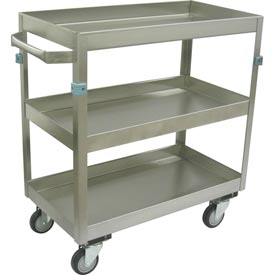 "Jamco Stainless Steel Cart ZN130 3 Shelf 30x16 4"" Casters Steel Rigs"