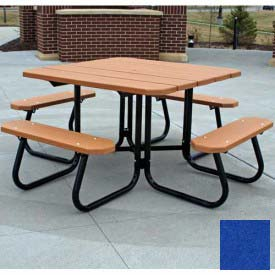 Jayhawk Recycled Plastic Square Picnic Table, Blue