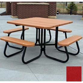 Jayhawk Recycled Plastic Square Picnic Table, Red