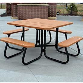 Square Picnic Table, Recycled Plastic, 4 ft, Cedar