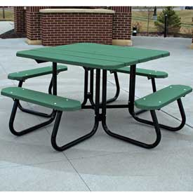 Square Picnic Table, Recycled Plastic, 4 ft, Green