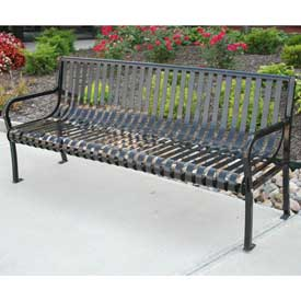 Aspen Bench, Steel, 6 ft, Black