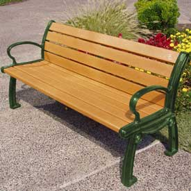 Heritage Bench, Recycled Plastic, 6 ft, Green Frame, Cedar