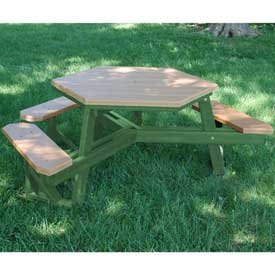 Hex Table, Recycled Plastic, 6 ft, Green Frame, Cedar, ADA