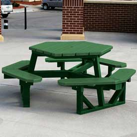 Hex Table, Recycled Plastic, 6 ft, Green Frame, Green