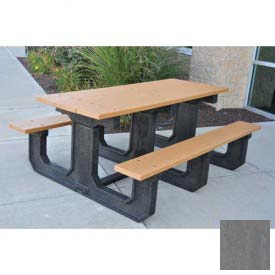Jayhawk Recycled Plastic 6 Ft. Park Place Picnic Table, Gray
