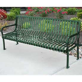 Aspen Bench, Steel, 6 ft, Green