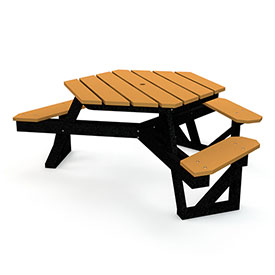 Hex Table, Recycled Plastic, 6 ft, Black Frame, Cedar, ADA