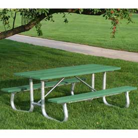 Galvanized Frame Picnic Table, Recycled Plastic, 8 ft, Green
