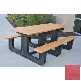 Jayhawk Recycled Plastic 8 Ft. Park Place Picnic Table, Red