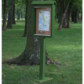 "Jayhawk Plastics Small Message Center, Recycled Plastic, One Side, One Posts, Green, 26""W x 20""H"