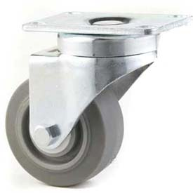 "GD Swivel Plate Caster 3"" TPR Wheel Tread Brake, Dual Ball Bearing, 2-3/4""x3-3/4"" Plate, Grey"