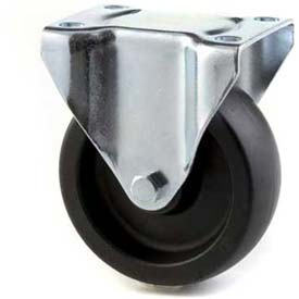 "HD Rigid Caster 4"" Mold On Rubber on Cast Iron Wheel, Roller Bearing, 4""x4-1/2"" Plate, Black"