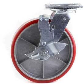 "HD Swivel Caster 4"" PU on Cast Iron Wheel Nylon Brake, Roller Bearing, 4""x4-1/2"" Plate, Red"